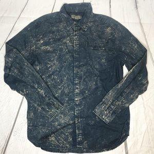 Decree Blue and Tan Acid Wash Style Shirt